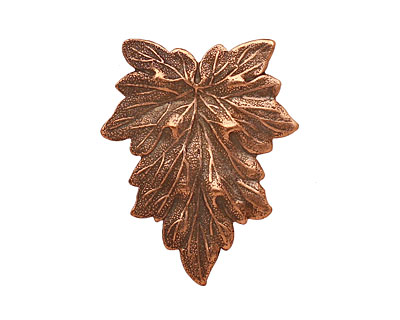 Stampt Antique Copper (plated) Textured Leaf 25x31mm (no drill hole)