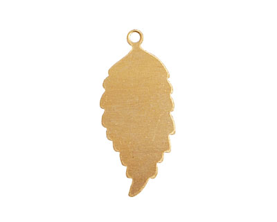 Brass Feathered Leaf (right) Blank Pendant 14x32mm