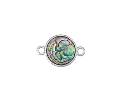 Abalone Coin Focal Link in Silver Finish Bezel 19x12mm