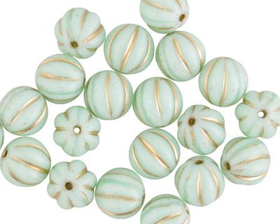 Czech Glass Sweet Mint w/ Gold Melon Round 8mm