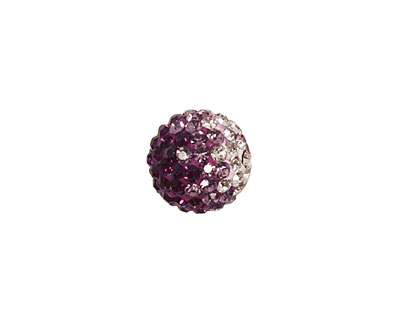 Amethyst/Crystal Ombre Pave Round 12mm (1.5mm hole)