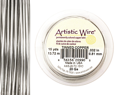 Artistic Wire Tinned Copper 20 gauge, 15 yards