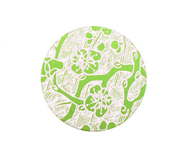 Lillypilly Lime Green Cherry Blossom Anodized Aluminum Disc 25mm, 24 gauge