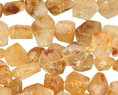 Citrine Flat Faceted Nugget 8-14x9-15mm