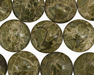 African Green Jasper Puff Coin 16mm
