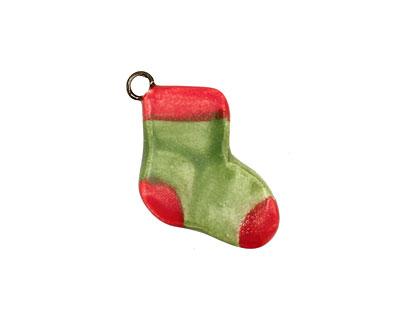 Jangles Ceramic Green Stocking Charm 15-18x17-22mm