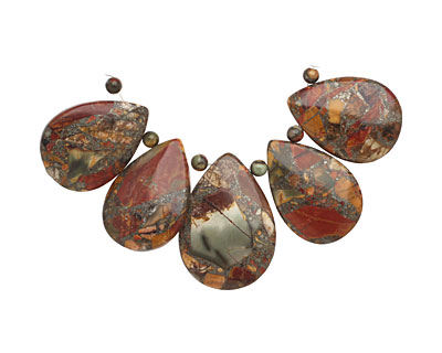 Red Creek Jasper w/ Pyrite Teardrop Pendant Set 21-25x30-35mm