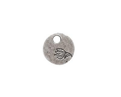 Nunn Design Antique Silver (plated) Mini Circle Flower Tag 12mm