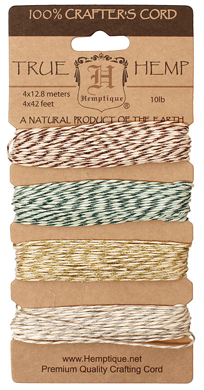 Metallic Classic Hemp Twine 10 lb, 42 ft x 4 colors