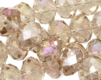 Khaki AB Crystal Faceted Rondelle 14mm