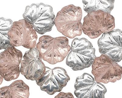 Czech Glass Rosaline w/ Silver Luster Maple Leaf 10x13mm