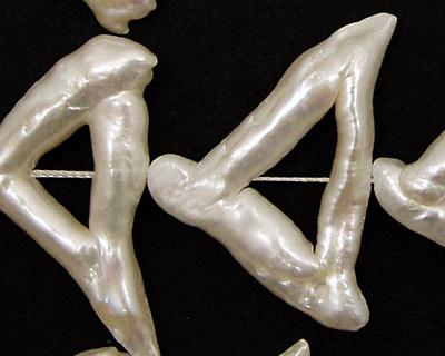 Pearly White Biwa Triangle 21-25x35-40mm