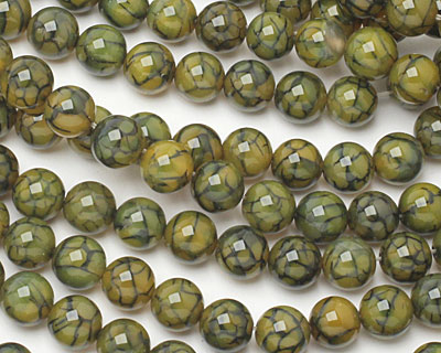 Olive Fire Agate Round 10mm