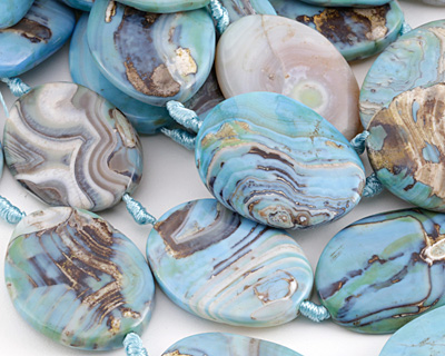 Arctic Terra Agate Twisted Oval 40x30mm