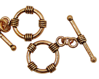 Antique Copper Toggle Clasp with 4 Coils 16mm, 25mm Bar