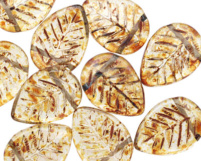 Czech Glass Smoky Topaz Picasso Carved Leaf Drop 12x17mm