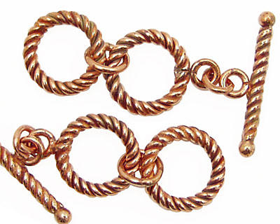 Antique Copper Rope Toggle Clasp w/ Double Rings 14mm, 23mm Bar