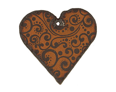 The Lipstick Ranch Etched Rusted Iron Heart Pendant 42mm