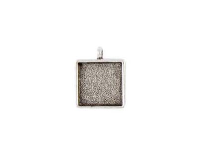 Nunn Design Antique Silver (plated) Small Square Bezel Pendant 18x26mm