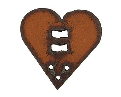 The Lipstick Ranch Rusted Iron Heart Button w/ Holes 42mm