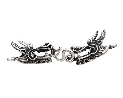 Saki Sterling Silver 2 Headed Dragon Clasp 65x14mm