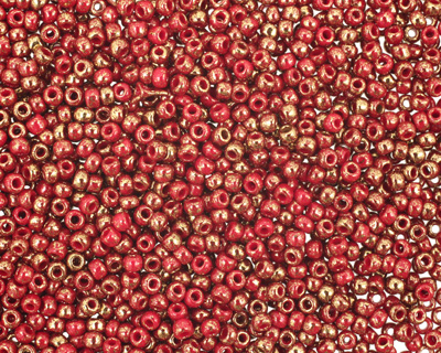 TOHO Gilded Marble Red Round 11/0 Seed Bead