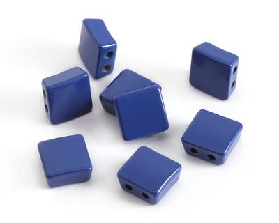 Navy Blue Enamel 2-Hole Tile Square Bead 8mm