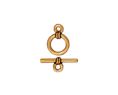 TierraCast Antique Gold (plated) Wrapped Toggle Clasp 12x8mm, 14mm Bar