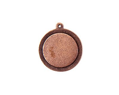 Nunn Design Antique Copper (plated) Raised Tag Small Circle Pendant 25x29mm