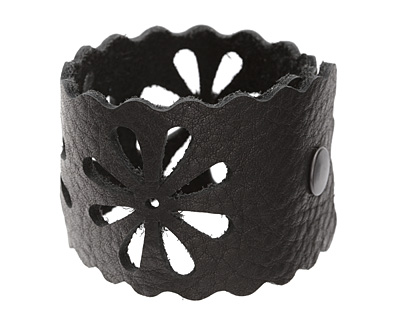 The Lipstick Ranch Black Leather Cuff Bracelet w/ Floral Cut Out 2