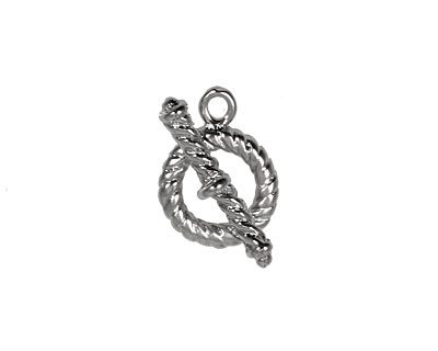 Silver (plated) Multi-Bezel Roped Toggle Clasp 13x17mm, 22x7mm