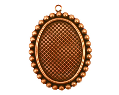 Stampt Antique Copper (plated) Dotted Fringe Oval Setting 18x25mm