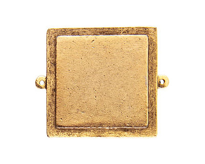 Nunn Design Antique Gold (plated) Raised Tag Grande Square Link 46x38mm