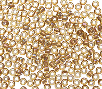 TOHO Gold Lined Topaz Round 8/0 Seed Bead