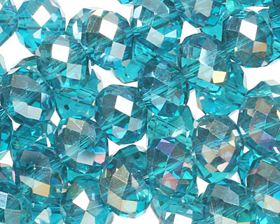 Teal AB Crystal Faceted Rondelle 10mm