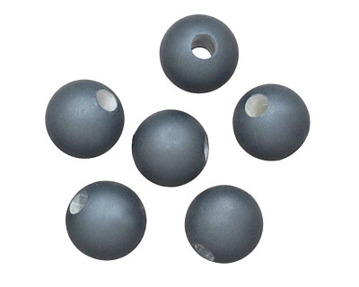 Steel Blue (matte) Shell Pearl Round (large hole) 10mm