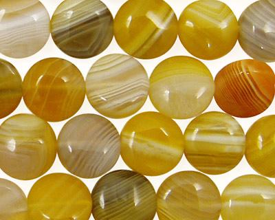 Yellow Botswana Agate Puff Coin 10mm