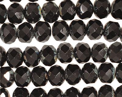 Czech Glass Black Magic Fire Polished Rondelle 6x9mm