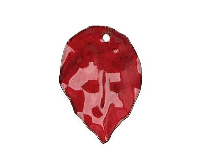 C-Koop Enameled Metal Flame Red Round Leaf 19-21x30-33mm