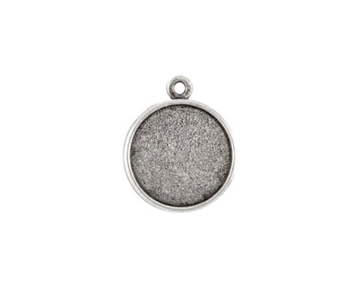 Nunn Design Antique Silver (plated) Double Sided Bezel Pendant 23x27mm