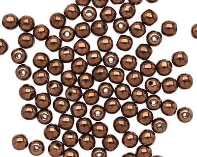 Czech Glass Dark Bronze Round 4mm