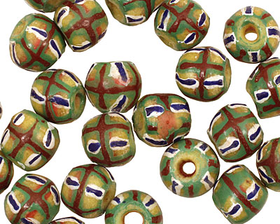 African Clay (green, red, blue) Irregular Round 12-13mm