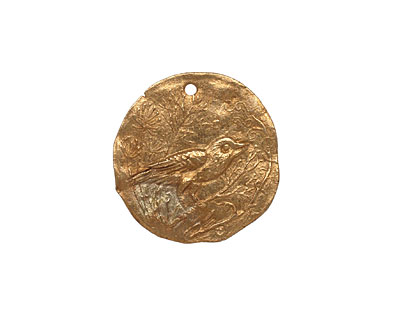 Green Girl Bronze Bird in Branches Coin 20-21mm