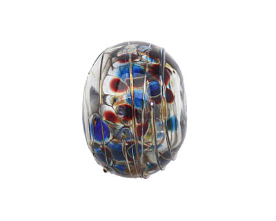 A Beaded Gift Blue Luxe Glass Rondelle (hollow) 13-15x19-23mm