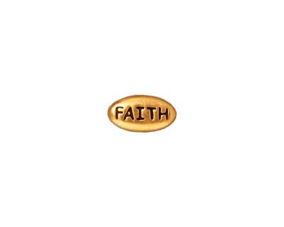 TierraCast Antique Gold (plated) Faith Word Bead 11x6mm