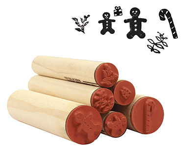 Gingerbread Wreath Rubber Stamp Set
