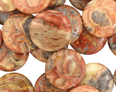 Crazy Lace Agate (red) Puff Coin 30mm