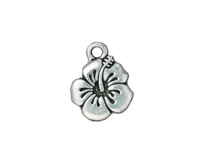 TierraCast Antique Silver (plated) Hibiscus Charm 14x18mm