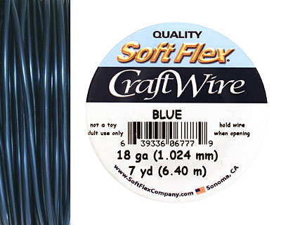 Soft Flex Blue Craft Wire 18 gauge, 7 yards