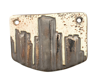 Earthenwood Studio Ceramic Detroit Skyline Pendant 52x38mm